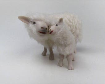 Doll House Scale Irish Galway Sheep Cheek to Cheek With Lamb