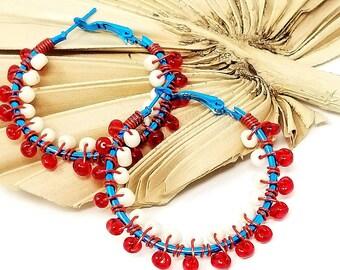 Red White Beaded Hoop Earrings, Seed Bead Earrings, Boho Hoop Earrings for Her, Gift fo Her, Large Hoop Earring, Gypsy Inspired Hoops