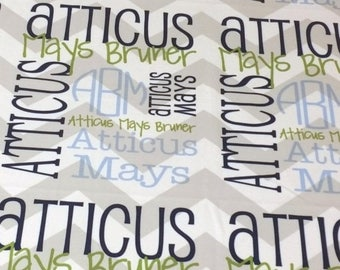 New Years SAVINGS Personalized Baby Blanket Monogrammed Chevron Baby Blanket Name Blanket Receiving Blanket Baby Shower Gift Photo Prop Birt