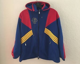 90s FUBU Blue Red and Yellow Hooded Jacket
