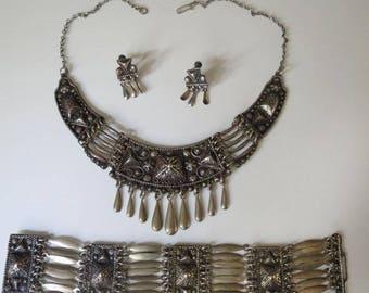 Vintage Sterling Silver Mexican Necklace Bracelet Screw Back Earrings
