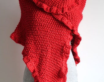 Large Size Scarlet Red Color Acrylic Yarn Knitted Wrap Shawl Stole with Ruffled Trim