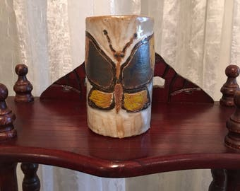 Butterfly stoneware tumbler
