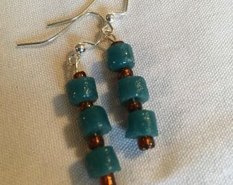 Teal Sand Cast Dangle earrings