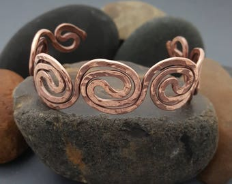 Handmade Copper Cuff Bracelet in Yin Yang Pattern Custom Made to Order Bare or Antique Options Available Made in Texas