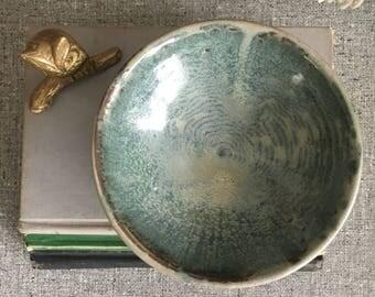 Studio Pottery Shallow Blue Grey Glazed Bowl