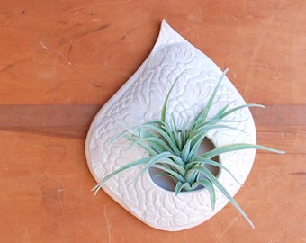 White Air Plant Holder - Ceramic Lace Teardrop Shape - Pottery Wall Hanging Planter, Pot, Hanger - Air Plant Display - Gift for Plant Lovers