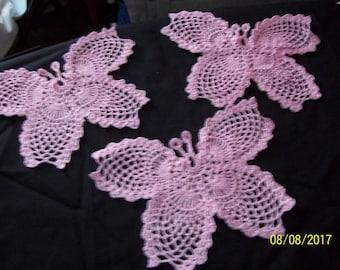 Set of three (3) butterflies in light Pink