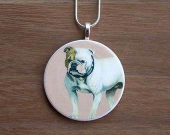 Bull Dog Pendant Necklace, Bull Dog Necklace, Bull Dog Jewelry, Handcrafted Jewelry, Gift for Dog Lovers, Free Shipping in US