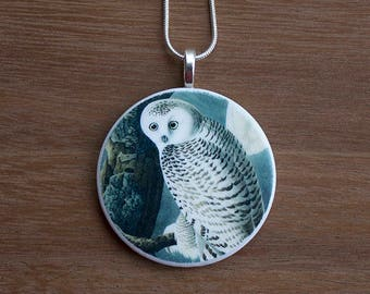 Snowy Owl Necklace, Snowy Owl Pendant, Vintage Snowy Owl, Handcrafted Jewelry, Gift for Bird Lovers, Free Shipping in US