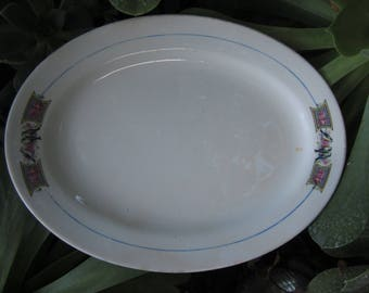 Vintage Bluebird and Roses Platter Oval Ceramic Tray