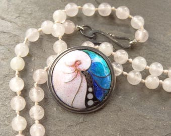 Cloisonne Enamel - Silver - Artisan Made - Pink Quartz - Hand Knotted Necklace - Nautilus Shell Necklace -