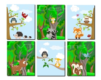 Woodland Nursery Decor, Woodland Nursery Wall Art, Boy Nursery Wall Art, Enchanted Forest, Forest Friends, Set of 6 Prints or Canvas