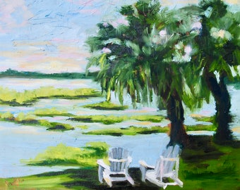 Modern Impressionist Original Landscape Oil Painting of South Carolina Marsh by Rebecca Croft