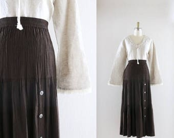 ON SALE tiered maxi skirt / chocolate