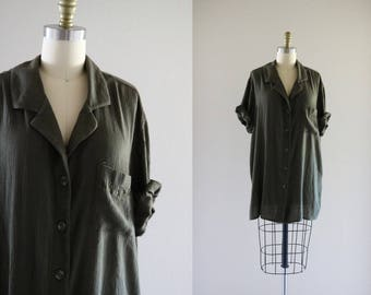 oversized forest gauze button down