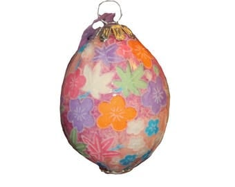 Hand decorated Blown Washi Egg Ornament (Pink with Orange & Purple Flowers)