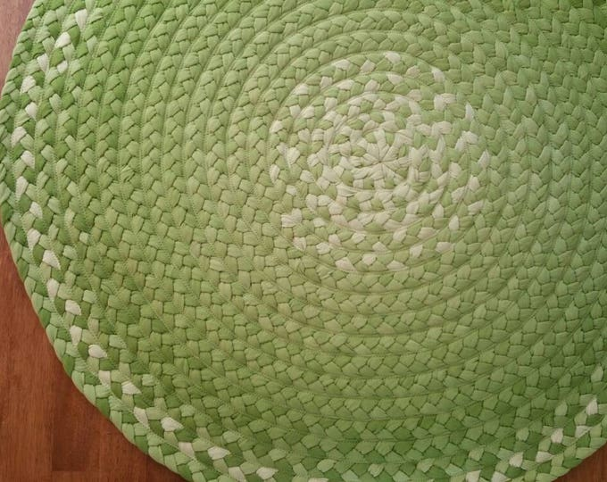 """33% OFF 45"""" Green rug hand braided cotton"""