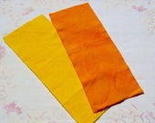 Hand dyed wool fabric bundle - Canary yellow and pumpkin orange wool - rug hooking - applique and crafts - quilting - primitive -2