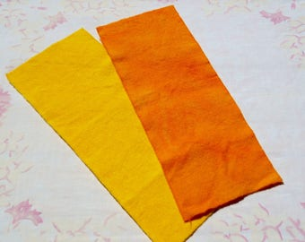 Hand dyed wool fabric bundle - Canary yellow and primitive pumpkin orange wool - rug hooking - applique and crafts - quilting - primitive -2