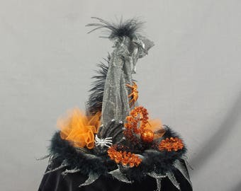 Animated Witch Hat Decoration, Silver and Orange Centerpiece, Witch Hat Centerpiece, Halloween Decoration, Witch Decoration