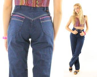 Vintage 80s High Waisted Jeans Straight Leg Trousers Disco Dark Blue Denim 1980s XS Landlubber