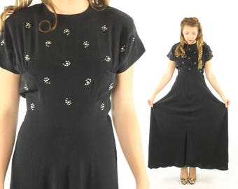 Vintage 40s Evening Gown Black Cocktail Dress Rhinestones Pearls Short Sleeve Full Sweep 1940s Medium M