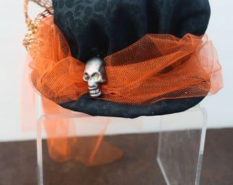 Steampunk Mini Hat Fascinator- Halloween Orange and Black