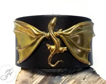 Golden DRAGON Gothic Steampunk Cuff ~ Dark Brown Espresso Leather & Patina Brass ~ Two Snap Adjustable Cuff ~ Fits to 8 Inch Wrist #B0175