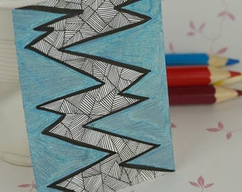 ACEO Art Card Original Pen & Ink Abstract Line Drawing Panic Attack