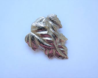 Vintage Leaf Scarf Clip - Midcentury Costume Jewelry Pin - Silvertone by Jeri-Lou