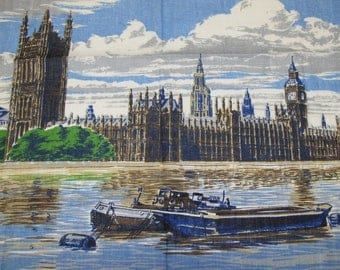 Vintage Ulster Houses Of Parliament Linen Towel