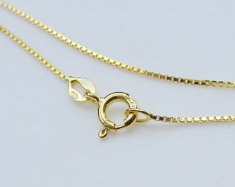 2 pc, 20 Inches, 1mm 18K Gold over 925 Sterling Silver Box Chain, Finished Chain - Made in Italy