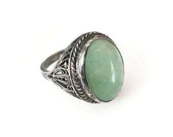 Chinese Jade Sterling Filigree Ring - Sterling Silver, Chinese Export, Celadon Green, Vintage Ring, Size 4.75
