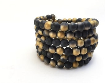 Women's Black Wrap Bracelet Stacking Bracelets Black & Gold Jewelry Black Glass Bead Bracelet Black Stone Arm Accessory Coil Bracelet