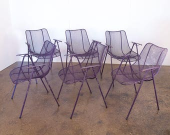 Set of 6 Purple Russell Woodard Outdoor Garden Stacking Armchairs