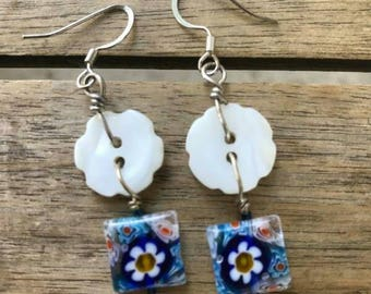 Blue Daisy Button Earrings One of A Kind