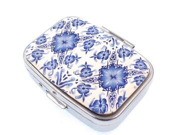 Polymer Clay Covered, 2 Compartment Pill Box, Delft Design