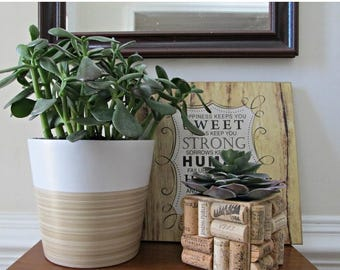 ON SALE Wine Cork Succulent Planter - 4 x 4 inch Square Wood Planter with Plastic Insert
