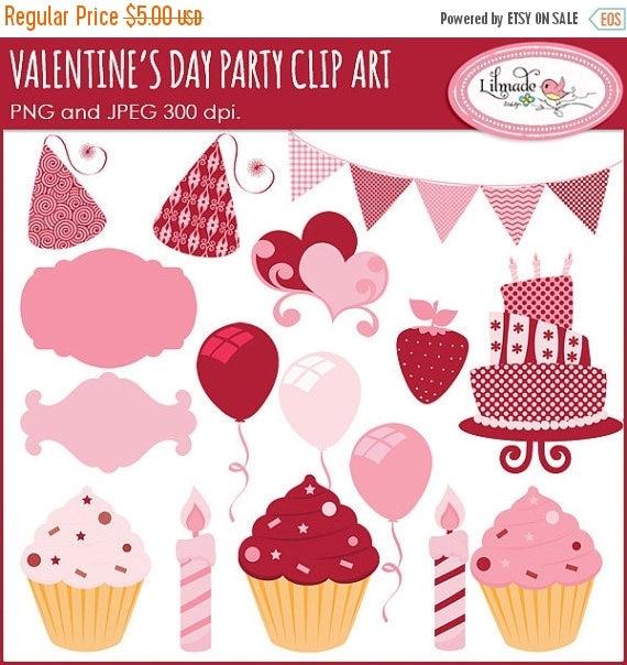 65%OFF SALE Valentine's Day clipart, Valentine's party clipart, cake clipart, birthday clip art, candle clipart, digital labels, cupcake cli