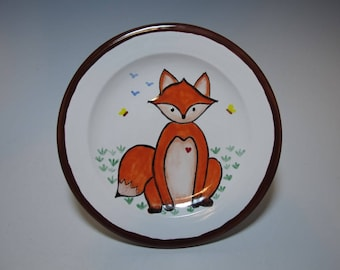 Fox and Butterfly Hand Painted Majolica Decorated Plate - Hand Thrown and Hand Painted