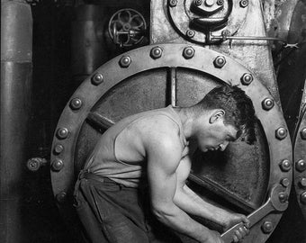 Power House Industrial Revolution gears hot shirtless dude art 8 x 10 reproduction image print
