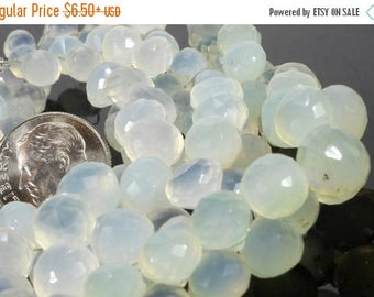 ON SALE Palest Green Chalcedony Onions Faceted Candy Kiss Briolettes Beads Earth Mined Gemstone  5x5 to 8x8mm - 5 to 50 Beads