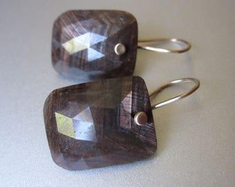 Rose Cut Chocolate Sapphire Cushion Drops Solid 14k Gold Earrings