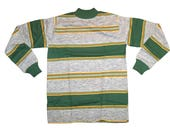 Deadstock Vintage 70s Boys Green Striped Ribbed Shirt Size 18 by Rob Roy, Grunge Style