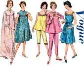 Vogue 5450 Womens Nightgown & Smock Pajamas Retro Sleepwear 60s Vintage Sewing Pattern Size LARGE Bust 40 Inches