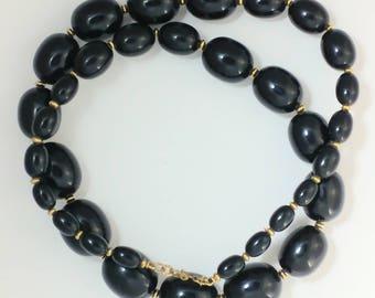 Wonderful Black Plastic Bead Necklace Signed Monet