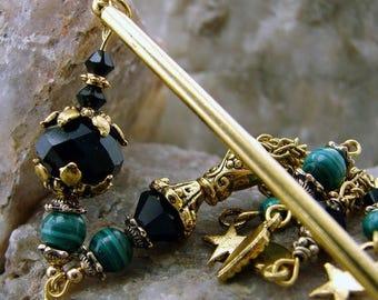 CIJ SALE Hair Stick Malachite Gemstones Swarovski Crystals Dark Green Japanese Geisha Hair Sticks Oriental Hairstick Kanzashi Hair Pins - Le
