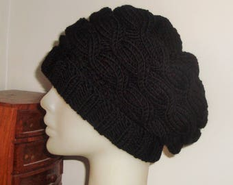 Hand Knit Hat - Pure Wool Hat - Womens Hat Black Cable Knit Beanie - Womens Accessories