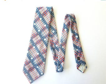SALE - Vintage 1970's Red White & Blue Polyester Plaid Necktie Tie from Sears - The Men's Store